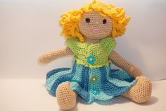 crochet doll Charlotte with flower dress pdf pattern (US) Dinosaur Stuffed Animal, Etsy, Animals, Little Girls, Craft Gifts, Handmade, Animales, Animaux, Animal