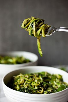 The Ultimate Green Veggie Bowl with Zucchini Noodles, Broccoli, Snap Peas, and Pesto