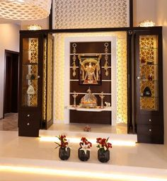 Since we are close to the festive season, why not give your temple a lovely makeover. These Mind Calming Wooden Home Temple Designs will help you in that. Temple Room, Home Temple, Meditation Room Decor, Mandir Design, Pooja Room Door Design, Temple Design, Puja Room, False Ceiling Design, Prayer Room