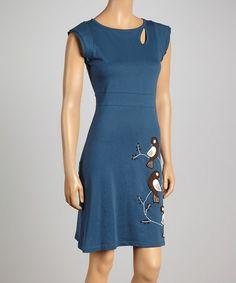 Look what I found on #zulily! Ocean Bird Trio Keyhole Organic Dress by Synergy Organic Clothing #zulilyfinds