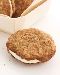 """Zucchini Nut Bread Cookie Sandwiches --""""These cookies, cousins of zucchini bread, are perfect for packing up as picnic fare -- even if the picnic table is right in your kitchen. A sweet cream-cheese filling goes in the middle. Potluck Desserts, Just Desserts, Delicious Desserts, Yummy Food, Dessert Recipes, Oats Recipes, Rice Recipes, Bread Recipes, Breakfast Recipes"""