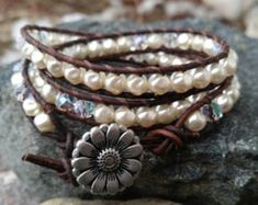 Ivory pearls and aurora borealis crystals leather wrap bracelet