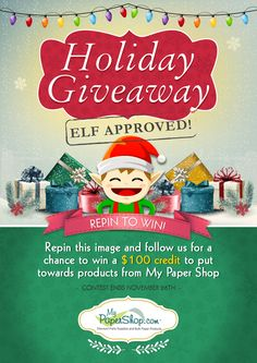 REPIN TO WIN! Follow us and repin this image for a chance to win a $100 credit to put towards products from My Paper Shop! 'Tis the season! @mypapershop