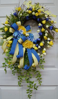 Spring Wreath, Tulip Wreath, Mother's Day Wreath, Summer Wreath, Grapevine Wreath, Blue and Yellow Wreath, Front Door Wreath