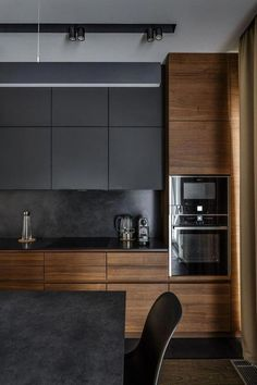 Trendy Ideas For Wood Kitchen Cabinets Modern Cupboards Small Modern Kitchens, Grey Kitchens, Modern Kitchen Design, Interior Design Kitchen, Cool Kitchens, Kitchen Contemporary, Modern Design, Contemporary Decor, Modern Decor