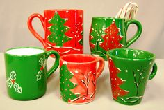 Paint your own bisque pottery mug - various desigs with a Christmas theme.