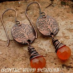 OF LIFE - Carnelian - Handmade Etched Copper, Sterling Silver, Faceted Carnelian Copper Jewelry, Wire Jewelry, Jewelry Crafts, Jewelry Art, Beaded Jewelry, Jewelery, Jewelry Design, Jewelry Ideas, Beaded Earrings