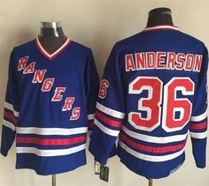 3ebbb4e74 Rangers #36 Glenn Anderson Blue CCM Heroes of Hockey Alumni Stitched NHL  Jersey Basketball Jersey