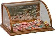 vintage Chewing Gum display case with etched glass