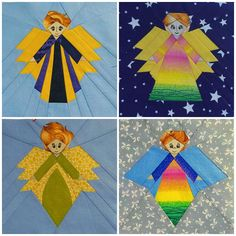Guardian angel, Quilt block pattern, DIY gift, Mother's day, Paper Piecing, Rustic home decor, Modern home decor, PDF Tutorial for beginners