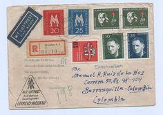 Germany 1957 Register M/Franking Cover Dresden > Barranquilla $$