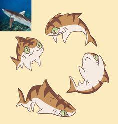 Cute Fantasy Creatures, Mythical Creatures Art, Cute Creatures, Creature Concept Art, Creature Design, Cute Animal Drawings Kawaii, Cute Drawings, Shark Art, Cute Shark