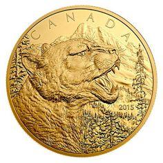 Canada 1250 Dollars Half Kilogram Pure Gold Coin 2015 Growling Cougar
