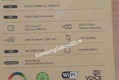 #Samsung Galaxy S5 retail box image reveals specs, 5.25 inch QHD display, 2.5 GHz quad-core, 20 MP Camera, 3 GB RAM, Android 4.4 KitKat #GalaxyS5