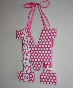 SO cute!! Custom Decorated Letter  Pink and White Polka by inspiremecrafts, $22.00