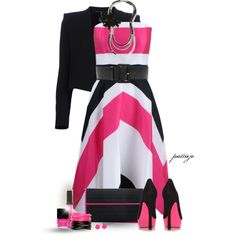 Fun with Pink and Black by rockreborn on Polyvore featuring Christian V Siriano, Theyskens' Theory, Jessica Simpson, Poupée Couture, White House Black Market, Full Tilt, Kate Spade, Prada, Stila and Butter London