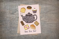 Tea Greetings Card & Envelope - Time For Tea! British High Tea And Cakes - Vintage Teapot Pink Mothers Day Card - Baking Lover Birthday Card British Cake, British Traditions, Traditional Cakes, Holiday Greeting Cards, Card Envelopes, High Tea, Teapot, Nest, Mothers