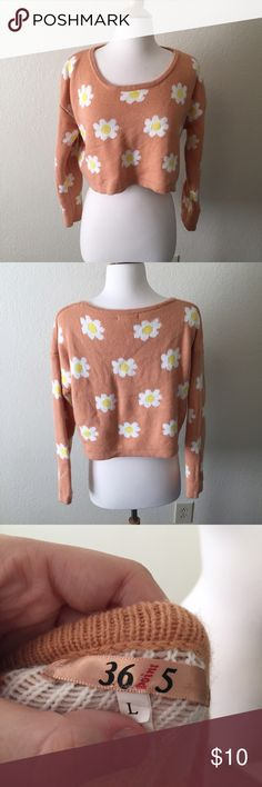 Daisy Sweater (28) Daisy patterned pink cropped sweater. Size large, fits small-petite large best. Used, little bit of piling. ♥︎Moving in a couple weeks, need my closet cleaned out. Check out my closet for more great items at low prices! Bundle to save ♥︎ ☀︎FREE GIFT with orders over $20!☀︎ Sweaters Crew & Scoop Necks