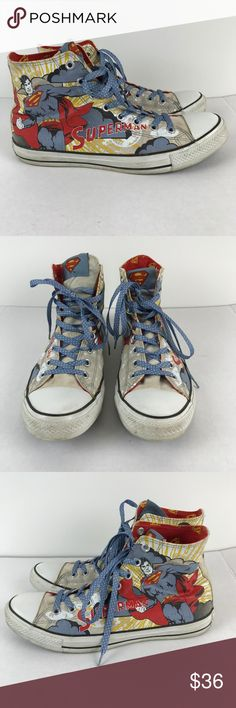 58cdd520251335 Converse DC Comics Superman All Star Hi Top Shoes From Converse All Star  Size 11 (mens) used condition from a smoke free and pet friendly home  Converse ...