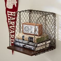 Industrial Metal Shelf Cube ~ $39.00 at potterybarnteen.com  How about these instead of the circles?