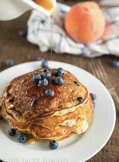 Blueberry peach pancakes