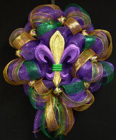 Mardi Gras Wreath Mardi Gras Decor Poly Mesh by wreathsbyrobin, $60.00