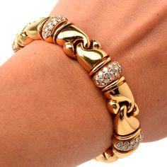 Bulgari Diamond Gold Bracelet   From a unique collection of vintage link bracelets at https://www.1stdibs.com/jewelry/bracelets/link-bracelets/