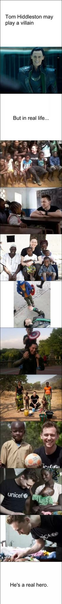 Hiddles plays a villain, but in real life he's a hero!