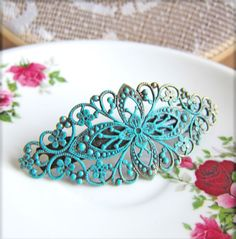 Vintage Style Barrette Patina Mint Green Tiffany Blue Vintage Filigree Barrette Hair Clip Victorian Spanish Influenced Hair Jewelry
