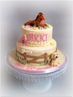 2 tier horse and dog cake