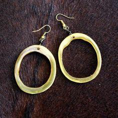 Cattle Horn Hoop Earrings, handmade in East Africa. $10 #fairtrade