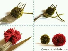 Pompoms  with fork - use Black yarn and make Soot Sprites for Miyazaki party