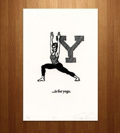 Y is for Yoga Letterpress Print |  Susanna Davy