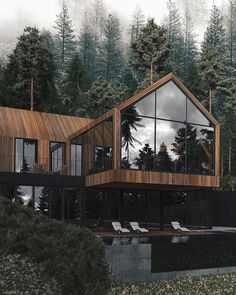 Office houses design plans exterior design exterior design houses home architecture house design houses Design Exterior, Interior And Exterior, Modern Interior, Interior Colors, Interior Ideas, Forest House, Modern House Design, Loft Design, My Dream Home