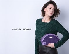 Lavender Shelly Suede Clutch by VH