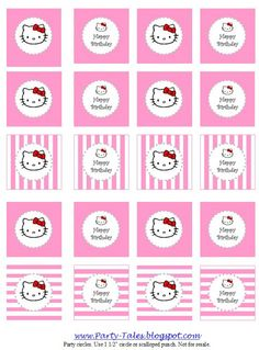 Hello Kitty Party Printable Circles ~ for cupcake toppers, favors, tags, etc. from Party Tales Hello Kitty Baby Shower, Hello Kitty Birthday, Anniversaire Hello Kitty, Hello Kitty Cupcakes, Hello Kitty Themes, Wonderful Day, Bday Girl, Cat Party, Printable Designs