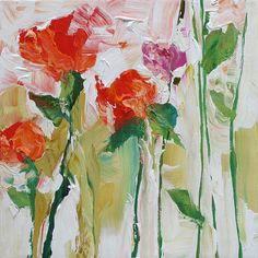 Original Abstract Floral Painting Fauve Impressionist Landscape Roses Acrylic Painting on Canvas by Linda Monfort                                                                                                                                                                                 Más