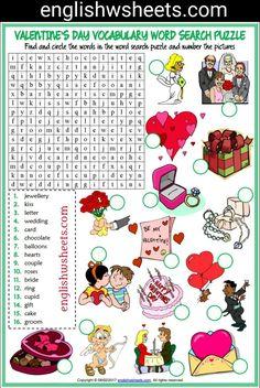 Valentine's Day Esl Printable Word Search Puzzle Worksheet For Kids Word Puzzles For Kids, Worksheets For Kids, Printable Worksheets, English Grammar Worksheets, English Vocabulary, Valentines Day Activities, Kids Valentines, English Lessons, Learn English