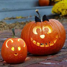 halloween kürbis gesicht katze und maus