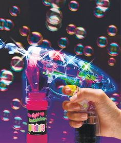 The fun never ends with The Light-Up Bubbleizer! It blows bubbles nonstop since it never runs out of breath. Pull the trigger and watch the bubbles flow. Its transparent body lets you see the bubbles forming. Streaks of colored light illuminate each shiny bubble as it floats in the air. Comes with a bottle of bubble solution (1.69 oz.) and is easily refillable. Works with any bubble solution.
