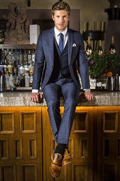 Osh looks unbelievably dapper in this Lambretta Navy Check Three Piece Suit. Mens Boots Fashion, Mens Fashion Suits, Mens Suits, Male Fashion, Look Formal, Formal Suits, Navy Check Suit, Graduation Suits, Mode Man