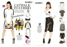 Catwalk to Cosmo Monochrome in Cosmpolitan Magazine February 2013 Styling by Clare Smith Model Claudia Cooper