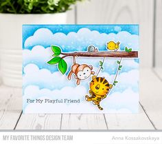 Jungle Gym Stamp Set and Die-namics, Mini Cloud Edges Stencil - Anna Kossakovskaya  #mftstamps