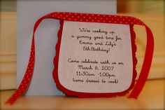apron invite for a baking party...blog post with fun birthday ideas with a baking theme