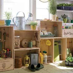 DIY cabinetry for your garden shed made from vintage wine crates