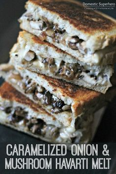 "Caramelized Onion & Mushroom Havarti Melt Do people always ask you this crazy question, ""If you could only eat one food for the rest of your life, what would it be?"" I hate when people ask me this, because it's nearly impossible to pick on… Grill Sandwich, Sandwich Toaster, Soup And Sandwich, Grilled Sandwich Ideas, Tuna Melt Sandwich, Veggie Sandwich, Caramelized Onions And Mushrooms, Stuffed Mushrooms, Vegetarian Recipes"