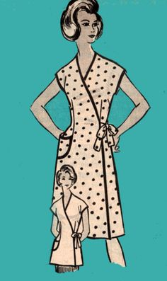 Vintage 60s Mail Order 9257 Wrap Dress or Cobbler by sandritocat, $26.00