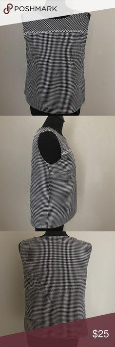 Talbots Gingham Sleeveless Top Black/White Gingham print Talbots top. Sleeveless design. Talbots Tops