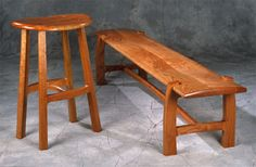 Cherry stool and bench