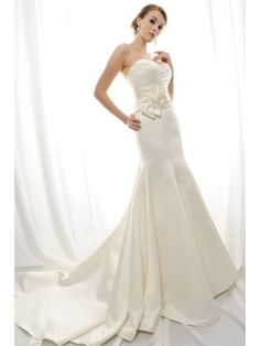 Didobridal.com: Chic Pleated Fit-and-flared Sweetheart Chapel Train Satin Wedding Dress -  For more amazing deals visit us at http://www.brides-book.com and remember to join the VIB Club  for amazing offers from all our local vendors.